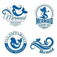 silhuetas de sereia com nadadeiras e caudas vetor de sereia marinha