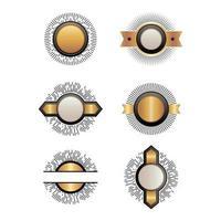kit de emblemas. coleção escudos fitas várias formas geométricas vetor