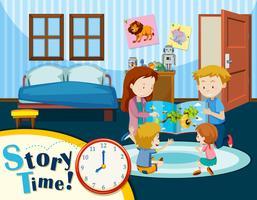 Cena do tempo da história da família vetor