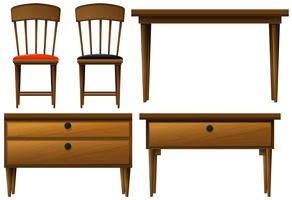 Muitos tipos de móveis de madeira vetor
