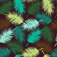 Sem costura padrão exótico com folhas de palmeira. Vetor