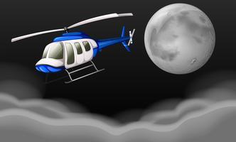 Helicóptero voando à noite vetor