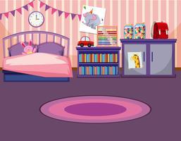 Um modelo de quarto de menina vetor