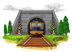 Passeio de trem na ferrovia vetor