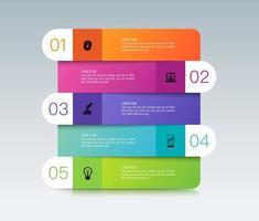 design de infográficos e ícones com 5 etapas vetor