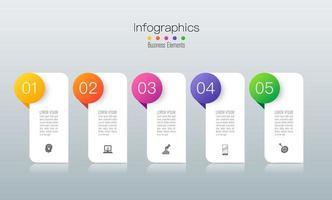 ícones e infográficos de arte em papel com 5 etapas vetor