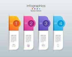 infográficos e ícones de arte em papel com 4 etapas vetor