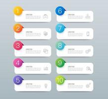 infográficos e ícones de arte em papel com 10 etapas vetor