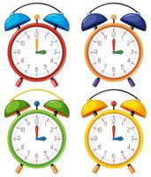Quatro despertadores com horário diferente vetor