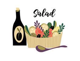 Ilustração em vetor de salada de legumes.