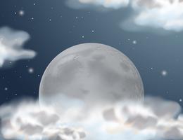 Cena com lua cheia à noite vetor