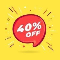 oferta especial de venda com desconto de 40% na bolha vermelha. vetor