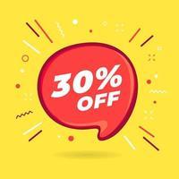 oferta especial de venda com 30% de desconto na bolha vermelha vetor