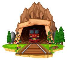 Passeio de trem na pista através do túnel vetor