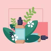ilustração de cena pequena de produto de cuidado de pele estilo plano rosa vetor