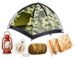 Adesivo, jogo, com, equipamento acampando vetor