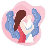 ilustração de fundo de mãe e bebê em estilo simples vetor