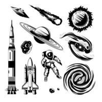 espaço gravura ilustração vetorial conjunto desenhado à mão vetor