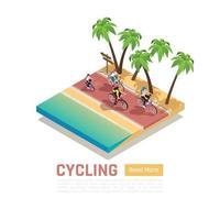 Ilustração em vetor conceito isométrico de bicicleta