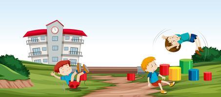 Crianças, tocando, infront, de vetor