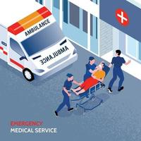 ilustração vetorial isométrica de ambulância vetor