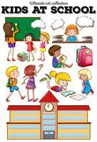 Crianças aprendendo na escola vetor