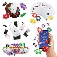 ilustração vetorial conjunto realista de cassino de pôquer vetor