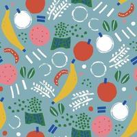 escova de pintura de vetor doodle banana, maçã padrão de ilustração abstrata