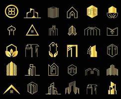 coleção mínima de logotipos de imóveis, construção e construção vetor