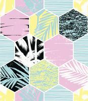 Sem costura padrão exótico com palma deixa no fundo geométrico