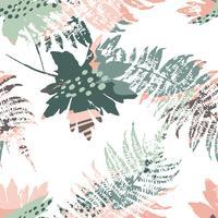 Abstrata sem costura padrão com folhas. vetor