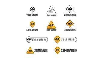 aviso de tempestade, coleção de símbolos isolados no fundo branco vetor