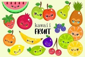 coleção de frutas kawaii feliz vetor