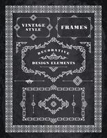 Conjunto de emblemas Vintage retrô, quadros, etiquetas e bordas. Fundo de quadro de giz vetor