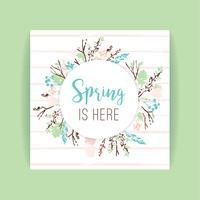 Quadro de primavera de ramos e folhas. vetor