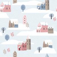 Paisagem sem emenda do inverno do whit do teste padrão do Natal e do ano novo feliz. vetor