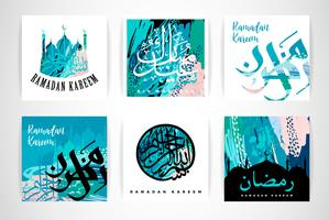 Conjunto de cartões criativos abstratos. Ramadan Kareem.