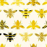 Sem costura padrão geométrico com abelha. Design moderno abstrato mel. vetor