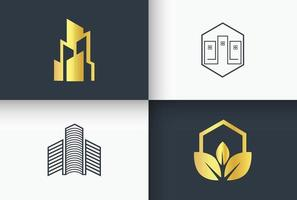 arte de linha de logotipo de imobiliária e construção minimal e simples vetor