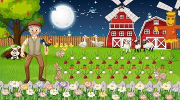 Cena de fazenda à noite com um velho fazendeiro e animais fofos vetor