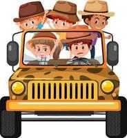conceito de safári com crianças no carro jipe em fundo branco vetor