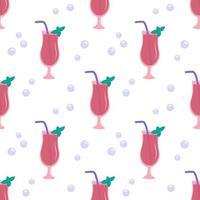 padrão sem emenda com copos de coquetel rosa com tubos, folhas de hortelã vetor