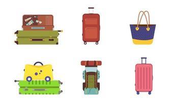 um conjunto de malas para férias e viagens. artigos de verão para turistas vetor