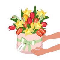buquê de tulipas e narcisos em uma caixa redonda vetor