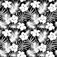 Sem costura padrão exótico com folhas tropicais. vetor