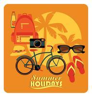 Ilustração lisa do vetor de férias de verão ativas.
