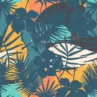 Sem costura padrão exótico com plantas tropicais e artistico.