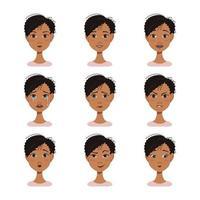 Avatares de expressões faciais de uma mulher afro-americana com cabelo escuro vetor