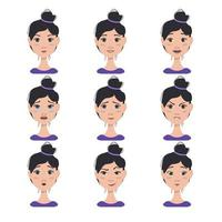 conjunto de expressões faciais de uma mulher asiática vetor