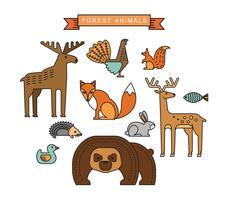 Ilustrações vetoriais de animais da floresta. vetor